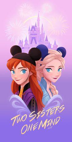 fan-art Two sisters One mind by on DeviantArt Disney Au, Disney Songs, Arte Disney, Disney Frozen Elsa, Disney Fan Art, Disney Memes, Disney Pixar, Frozen Movie, Frozen Party