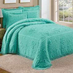 Teal Green Chenille Bedspread Shams Butterflies