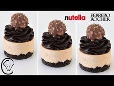 Individual Cheesecakes, Mini Cheesecakes, Individual Desserts, Mini Cheesecake Recipes, Nutella Cheesecake, Ferrero Rocher Cheesecake, Make Ahead Desserts, Delicious Desserts, Eat Dessert First