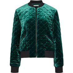 Alice + Olivia Demia emerald velvet bomber jacket ($835) ❤ liked on Polyvore featuring outerwear, jackets, flight jacket, blouson jacket, bomber style jacket, green zip jacket and green flight jacket