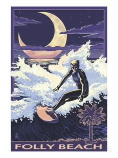 Folly Beach, SC - Sufer with Palmetto Moon Posters at AllPosters.com