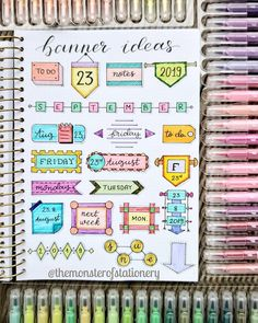Bullet journal headers help your bujo titles stand out. Check out these examples of different bujo fonts, banners, and headers to copy in your journal. Bullet Journal School, Bullet Journal Titles, Bullet Journal Banner, Journal Fonts, Bullet Journal Tracker, Bullet Journal Notebook, Bullet Journal Aesthetic, Lettering Tutorial, Bullet Journal Inspiration