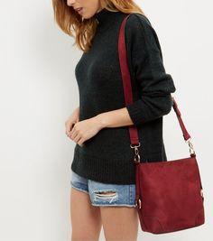 Dark Red Suedette Bucket Bag  | New Look