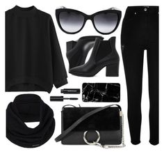"""All Black Everything"" by smartbuyglasses ❤ liked on Polyvore featuring River Island, Dolce&Gabbana, prAna, Chloé, Bobbi Brown Cosmetics and black"