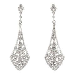 EVER FAITH® Austrian Crystal Wedding Chandelier Art Deco Earrings Silver-Tone *** Check out this great product.