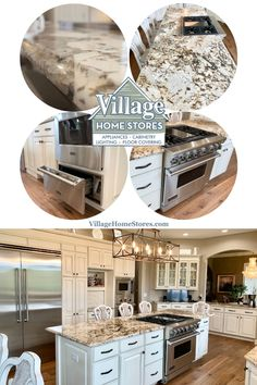 This client arranged to have the existing cabinetry painted and we helped them select ne Caravelas Gold granite countertops and an amazing Viking appliance suite. | villagehomestores.com Slide Out Shelves, Viking Appliances, Farm Sink, New Cabinet, Level Homes, Stone Countertops, Base Cabinets, At Home Store, Wall Oven
