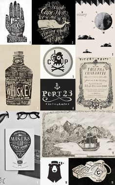 black and white typography and hand-lettering