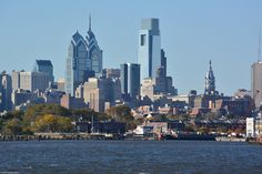 Philly's Skyline as seen from across the Delaware River at the South Camden Waterfront in New Jersey.