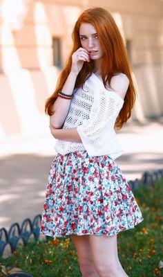 Tell me, redhead freckled mini skirt