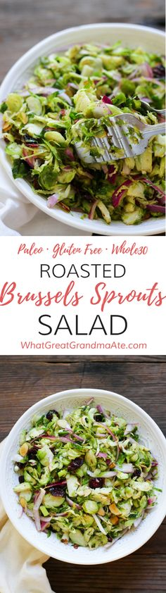 Paleo Roasted Brussels Sprouts Salad (Whole30, Gluten Free) via @whatggmaate