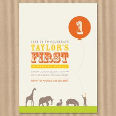 This invite puts a modern twist on a popular zoo themed birthday for kids. It can even be done in different contrasting colors like turquoise and orange. Love it!