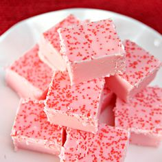 Two ingredient, super easy Strawberry Fudge.
