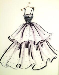 Fashion Drawing Fashion Iluustration Printt-Chic Dress by loveillustration on Etsy - Illustration Mode, Fashion Illustration Sketches, Fashion Sketchbook, Fashion Sketches, Dress Design Sketches, Fashion Design Drawings, Dress Drawing, Drawing Art, Fashion Figures