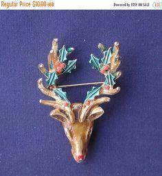 ON SALE Brooch Reindeer Head Holiday Brooch Featuring Holly Encircled Antler Rack and Rhinestone Eyes