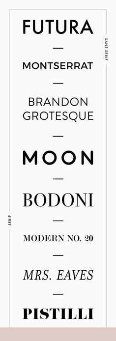 Favorite fonts for branding by Reux Design Co. - a great combination of serif and sans serif Graphisches Design, Design Logo, Design Poster, Graphic Design Typography, Modern Typography, Modern Serif Fonts, Fashion Typography, Free Modern Fonts, Free Fonts Sans Serif