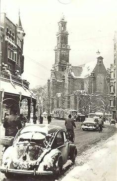 1950's Raadhuisstraat in Amsterdam. In the background the Westerkerk. #amsterdam #1950 #Raadhuisstraat