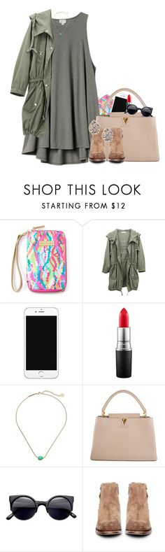 """""""NYC chic//Emma"""" by preppy-southern-gals ❤ liked on Polyvore featuring Lilly Pulitzer, H&M, MAC Cosmetics, Kendra Scott, Louis Vuitton and H by Hudson"""