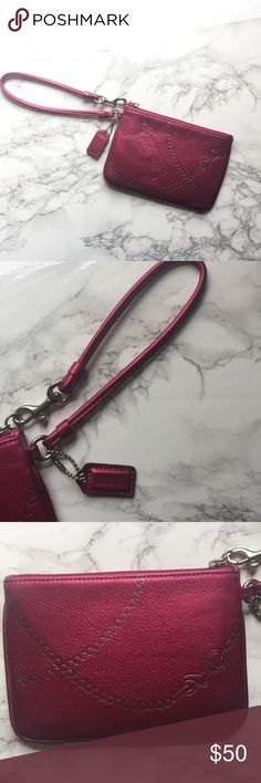NWOT Coach Pink and Silver Wristlet NWOT Coach Pink and Silver Wristlet Coach Bags Clutches & Wristlets