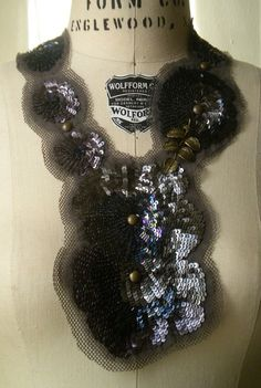 Upcycled Necklace From Vintage Ball Gown Decorations Black Sequins And Beads On Silk Organza Holiday Must Have on Etsy, $119.00