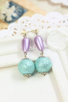 Blue Pearl Earrings Drops, Glass Pearl Dangles, Sky Blue Earrings, Lilac Earrings, Blue Pearl Drops, Gift under 20, Bridesmaids Gift by TrinketHouse on Etsy