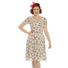 'Bretta' Cream Kitten Print Tea Dress -  from Lindy Bop UK