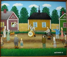 Martti Innanen: Soittaja Naive Art, Finland, Martini, Folk Art, House Styles, Painting, Decor, Music, Musica