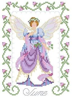 Birthday Faeries June Cross Stitch Pattern - product images
