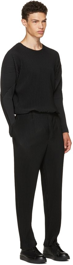 Homme Plissé Issey Miyake - Black Long Sleeve Classic Pleats T-Shirt