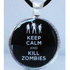 """Keep Calm"" Necklace by Alkemie Apparel #InkedSHop #KeepCalm #necklace #zombies #killzombies"