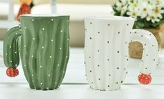 3D Love Couple Cactus Mug Desert Plants Office Coffee Cup Tea Milk Hand Painted