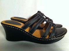 BORN Womens Black Strappy Leather Slide On Wedge Heel Shoes Very Comfy Size 9