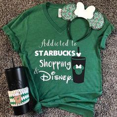 Disney starbucks shirt Disney shirts for women Starbucks Shopping Disney Coffee addict disney addict shopping addict customize me - Cricut T Shirts - Ideas of Cricut T Shirts - Bff Shirts, Disney Shirts, Cute Shirts, Disney Shirt For Women, Ladies Shirts, Starbucks Shirt, Disney Starbucks, Starbucks Clothes, Starbucks Birthday
