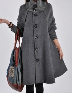 Stylish Turtle Neck Long Sleeve Spliced Button Design Women's Coat Coats | RoseGal.com Mobile