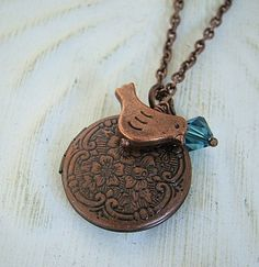 Bird Locket Necklace Vintage Inspired by BackstreetCreations, $22.00