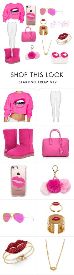 """""""Lip Outfit"""" by kiyah98077 on Polyvore featuring Topshop, UGG, MCM, Casetify, Ray-Ban, Mawi, Thalia Sodi and Sydney Evan"""