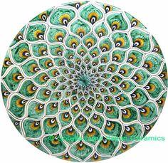 Majolica Plates | Ceramic Majolica Plate Peacock Green MRN 30cm