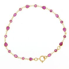 14k Yellow Gold Ruby Chain Bracelet
