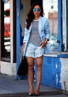 7.13 oversized style (Zara oversized blazer + T by Alexander Wang striped top + DIY denim shorts + Jimmy Choo metallic pumps + W Atelier bag + Ray Ban sunnies)