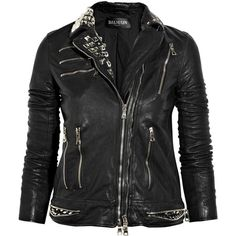 Balmain Embellished leather jacket ($2,125) ❤ liked on Polyvore featuring outerwear, jackets, tops, leather jackets, leather zip jacket, asymmetrical zipper jacket, zip jacket and 100 leather jacket