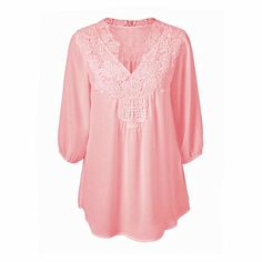 Cheap shirt dress, Buy Quality shirt t shirt directly from China shirt girl Suppliers: Newest Spring Summer Women Blouses Lace Chiffon Hollow V-neck Shirts Plus Size S-5XL Loose Three Quarter Sleeve Tops Shirts