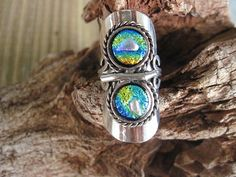 Fused Dichroic Glass Ring or Scarf Slide by glassygirls777 on Etsy, $15.00