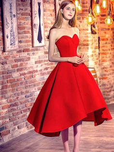 Custom Made Dazzling Prom Dresses 2018 Princess Sweetheart Red Satin With Ruffles Asymmetrical High Low Classic Prom Dresses Uk Homecoming Dresses High Low, A Line Prom Dresses, Prom Party Dresses, Sexy Dresses, Bridesmaid Dresses, Short Prom, Dress Party, Mini Dresses, Evening Dresses