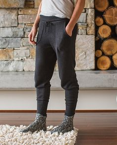 Cabin Yogi Sweater Pant   A sweater for our legs? Oh yes! Designed with a blend of cashmere and bamboo-sourced rayon, these pants were made for curling up fireside, or basking in post-yoga bliss.