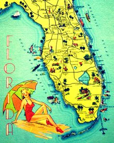 SUNNY FLORIDA 11x14 art photo retro state map picture summer fun babe coastal decor 1940s orange aqua red yellow color. Love that Melbourne is on there...