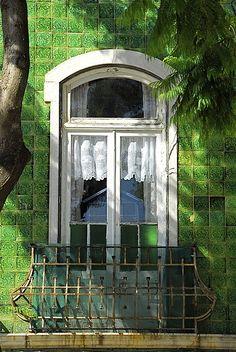 window/balcony - green tiles