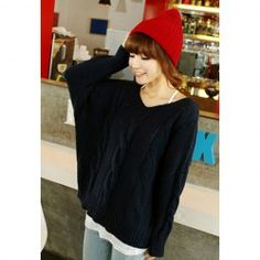 Retro Loose-Fitting V-Neck Cable Knit Solid Color Dolman Sleeves Women's Sweater