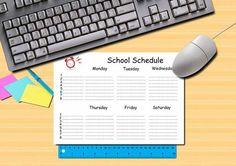 School schedule blank page