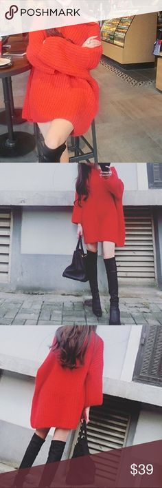 "Christmas red🎄Mid-long sweater Material: acrylic. NWOT S/M-length 27-28"", bust-40"", shoulder to shoulder-19.5"", sleeve length-16.5"". L/XL-length 30-31"", bust-45-46"", shoulder to shoulder-22.5"", sleeve length 17.7"" Sweaters"