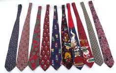 Lot of 20 Mens Neck Ties Silk Ralph Marlin Looney Tunes Jhane Barnes Christmas #LooneyTunes #NeckTie