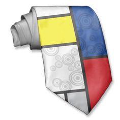 Mondrian Minimalist De Stijl Art Retro Circles Neck Wear.  $33.95